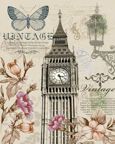 Big Ben is the nickname for the Great Bell of the clock at the north end of the Palace of Westminster in London. With Carnations and Roses, Lantern and Butterfly. Decoupage Vintage, Decoupage Paper, Vintage Diy, Vintage Labels, Vintage Ephemera, Vintage Cards, Vintage Paper, Scrapbooking Vintage, Scrapbook Paper