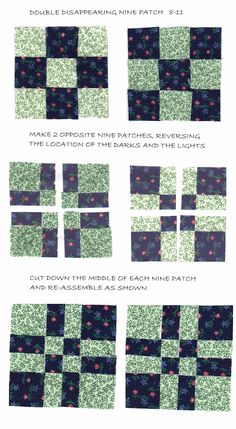 """The term """"Nine Patch"""" refers to the tried-and-true quilt block pattern, but did you know it also refers to an entire category of blocks? Any block that has seams that divide units equally into nine sections falls into the Nine Patch category (like the Hand Quilting Patterns, Easy Quilt Patterns, Patchwork Quilting, Quilting Tutorials, Pattern Blocks, Patchwork Patterns, Quilting Tips, Quilt Blocks Easy, Easy Quilts"""