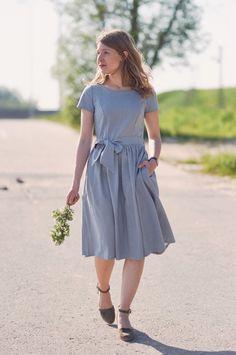 Sukienka Melia błękitna oxford - krótki rękaw
