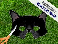Black Cat Mask Halloween Mask Cat Woman Mask by theRasilisk, $3.99