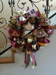 TEXAS STATE WREATH: Made this wreath for my daughter,  who is a cheerleader for the Texas State University Co Ed Cheer team.