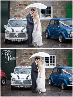 Rainy wedding day photograph with minis - At High House Farm Brewery