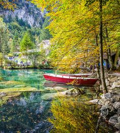 Blausee, Berner Oberland, Switzerland - Red Boats