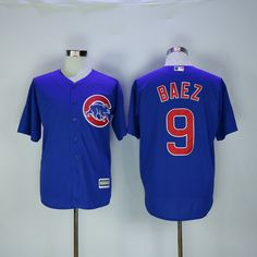 New Chicago Cubs Cool Base Mens Jerseys #9 Javier Baez Blue Baseball Jerseys  Stitched 100% Name (2)