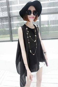 Cheap Casual Style Scoop Neck Asymmetrical Flounce Sleeveless Chiffon Vest For Women (BLACK,ONE SIZE), Vest & Waistcoat - Rosewholesale.com Bell Sleeves, Bell Sleeve Top, Black Vest, Scoop Neck, Chiffon, Casual, Tops, Women, Style