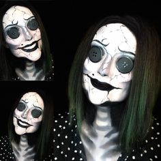 """""""Coraline...There's just one thing we need to do...."""" 🖤🖤🖤🖤🖤 For this look I used Younique Glorious Primer Younique Pressed Shadow Legendary Younique Pencil Liner Perfect Younique Dip N Draw Perfect Black & White Face Paint Oh! And a whole lotta patience! What do you guys think? #YHalloween2018 #YHalloweenUS2018 Coraline Halloween Costume, Halloween Kostüm, Horror Makeup, Scary Makeup, Coraline Makeup, Coraline Film, Other Mother Coraline, Face Paint Makeup, Scary Face Paint"""