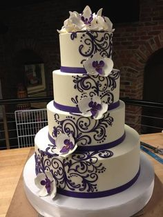 Black White And Purple butterfly wedding cake