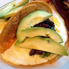 A closer look at the fried egg taco with avocado and black bean salsa at Cafe DeLuxe in Reno.