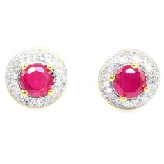 FASHIONABLE RUBY LOOK STONE & CZ GOLD PLATED SUPERSHINE EARRING JEWELRY 10401RUG