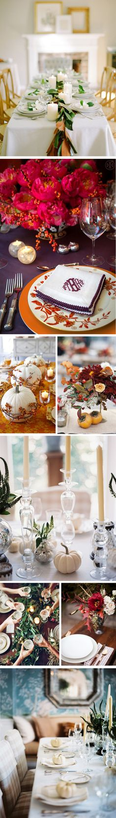 thanksgiving tablescape - wrap fresh bittersweet around white pumpkins.