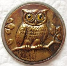 Truly Magnificent RARE LARGE Antique~ Vtg Metal Picture BUTTON Owl w/ GLASS Eyes