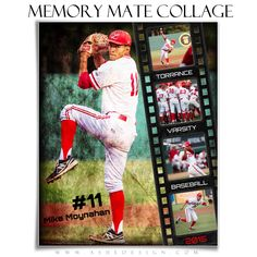 "Use our new ""Film Strip"" - Memory Mate Collages to enhance all of your sports images. These Memory Mates will work for any sport. Just use your team colors, photos then add text and print! Baseball Tips, Baseball Pictures, Better Baseball, Photoshop For Photographers, Photoshop Photography, Photoshop Actions, Photoshop Tutorial, Photography Templates, Just A Game"