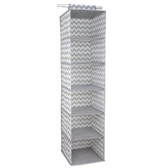 Store and organize your household essentials in this hanging organizer. Made from heavy duty breathable non-woven material, it features 6 shelves in a vertical orientation to provide ample space for clothes and more. Hangs on most standard closet rods. Velcro strap to secure the organizer. Collapsible when not in use. Made of non-woven material 6 spacious shelves to neatly organize all your household essentials Chevron finish adds a classic chic flair to your closet Velcro strap to secure…