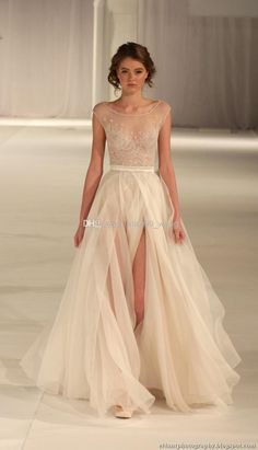 Wholesale 2015 New Arrival High Quality!Elie Saab Nude Sheer Tulle Embroidery Scoop Neck High Side Slit Sexy Perfect For Evening Dresses Style 151, Free shipping, $117.28/Piece | DHgate Mobile