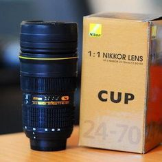 Nikon Camera Lens mug Coffee Cup Mug Thermos AF-S 1:1 24-70mm F/2.8 with case on Etsy, $15.99
