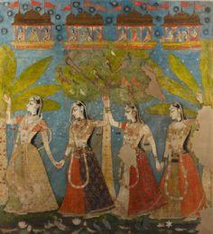 Sarat Purnima Gopis dance in the forest under the full moon in autumn, painted temple hanging for Krsna Kishangarh, India Pichwai Paintings, Mughal Paintings, Korean Art, Asian Art, Indiana, Jaisalmer, Udaipur, Arte Krishna, Mughal Miniature Paintings