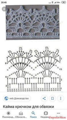 Crochet Border Patterns, Crochet Lace Edging, Crochet Blocks, Crochet Doily Patterns, Crochet Diagram, Crochet Chart, Filet Crochet, Crochet Doilies, Crochet Stitches