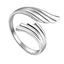 De moda del partido 925 accesorios de joyería de plata mejor amigo regalos Silver Plated doble del ángel las alas anillos RING-0175(China (Mainland))