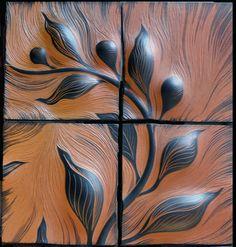 Botanical Porcelain 12″ tiles in Cashew