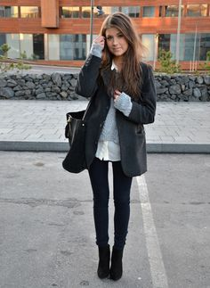 Sweater with a silky shirt underneath #layers