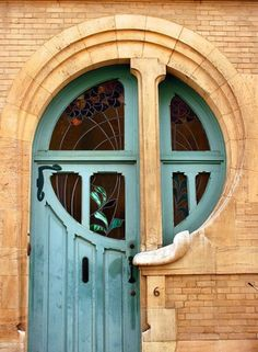 Art Nuveau door. I love Art Nuveau architecture and jewelry; especially natural themes.