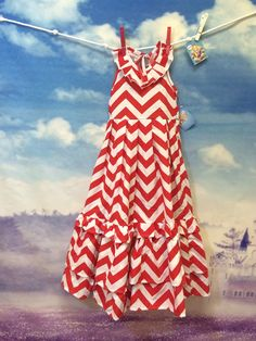 girls maxi dress red chevron boutique dress by AKidsDreamBoutique