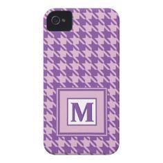 Purple Houndstooth Pattern Monogram iPhone 4 Case