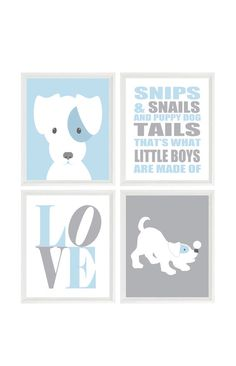 Puppy Nursery Art, Dog Wall Art, Snips And Snails Quote, Love Print, Baby Boy Nursery, Baby Blue, Gray, Dog Nursery Theme, Boy Room, Gift by RizzleandRugee on Etsy https://www.etsy.com/listing/229786446/puppy-nursery-art-dog-wall-art-snips-and