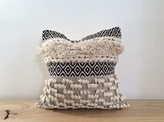 Stunning textured boho cushion with monochrome details with a feather interior. Measurements H W Boho Cushions, Large White, Soft Furnishings, White Walls, Monochrome, Upholstery, Feather, Throw Pillows, Style Inspiration