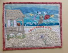 Applique and embroidered seascape using recycled materials Fabric Cards, Fabric Postcards, Free Motion Embroidery, Free Motion Quilting, Machine Applique, Free Machine Embroidery, Applique Quilts, Embroidery Applique, Mini Quilts