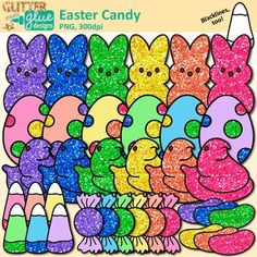 Easter Candy Clip Art {Rainbow Glitter Peeps, Chicks, Jelly Beans, and Candies}