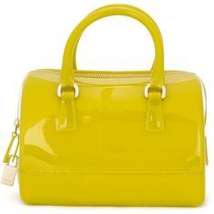 Furla Small Candy Bag ($182) ❤ liked on Polyvore featuring bags, handbags, green, green bags, yellow handbag, furla bags, furla purses and yellow bag