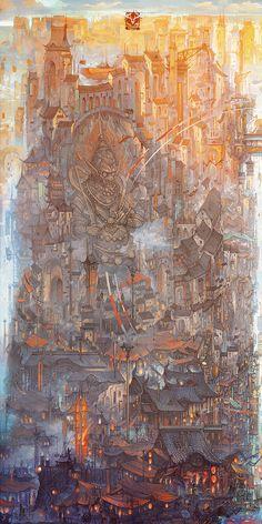 Fantasy Art Landscapes, Fantasy Landscape, Fantasy Artwork, Landscape Art, Arte Cyberpunk, Art Et Illustration, Matte Painting, Environment Concept Art, Scenery Wallpaper