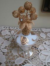 Vintage Irice Satin Glass Perfume Bottle~ West Germany Gold Filigree Ball Topper