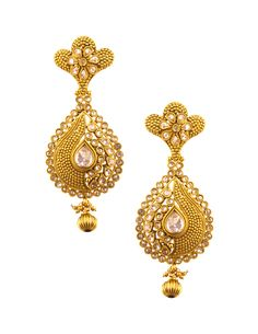 Inspired by Indian motifs and embellished with polkis, these earrings are designed keeping in mind the Indian woman's tastes and dressing sense http://www.snapdeal.com/product/jahnvi-gold-alloy-hanging-earrings/658999292644#bcrumbLabelId:341