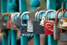 Love padlocks on Tumski Bridge in Poland.  reminds me of a bridge in edmonton that has a ton of locks on it as well.