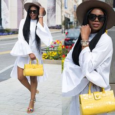 Get this look: http://lb.nu/look/8672739 More looks by Monica Awe-Etuk: http://lb.nu/awedbymonica Items in this look: White Shirt Dress, Yellow Bag #casual #chic #classic #ootd