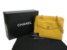 #CHANEL Chain Shoulder Bag Caviar Skin Yellow (BF088942). #eLADY global offers free shipping worldwide. For more pre-owned luxury brand items, visit http://global.elady.com