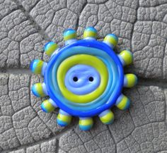 Cool Tone Handmade Glass BUTTON Lampwork Beads by Cherie Sra R114 Flamedworked Glass Button Green Turquoise Blue Lapis Raised Dot Button by CherieRanfranz on Etsy