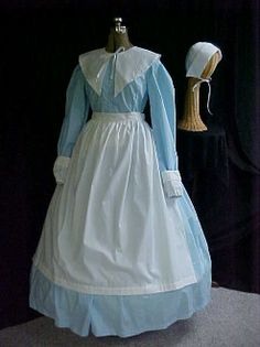 pilgrim, early colonial, living history dress set, 5 pc, hat, apron, sleeves, collar, 5 colors, easy to care for.