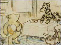 A rare drawing of Winnie The Pooh and Tigger has sold for 21,600 pounds at auction in London.    The crayon picture by Ernest H Shepard, Tiggers Don't Like Honey, was drawn for the 1958 edition of AA Milne's The World of Pooh, but never published.