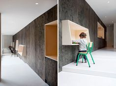 16 Wall Desk Ideas That Are Great For Small Spaces | These wall mounted desks are at different heights making them suitable for both the adults and kids in this family house.
