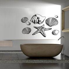 Wall Decal Decor Decals Sticker Shell Starfish Sea Ocean Bathroom Water Inhabitant Clams (M240) DecorWallDecals http://www.amazon.com/dp/B00FWK9TMI/ref=cm_sw_r_pi_dp_cgmYub14C9HJ6