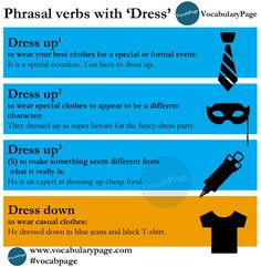 Phrasal verbs with 'DRESS' #English www.vocabularypage.com