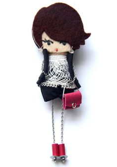 Irene. # felt dolls # brooche doll # custom doll # minimis Felt Crafts Patterns, Felt Decorations, Felt Brooch, Brooches Handmade, Bijoux Diy, Fairy Dolls, Felt Dolls, Felt Art, Custom Dolls