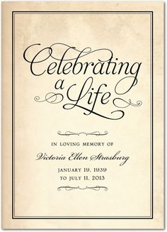 Celebrating a Life - Memorial Programs in Black or Sienna Brown | Hello Little One