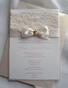 Baptism Invitation Christening Invitation Wedding by JRTDaisy