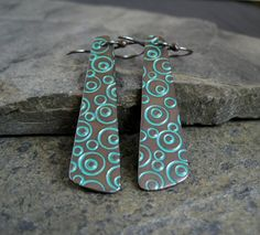 Image result for patina earrings Jewelry Design Earrings, Copper Earrings, Designer Earrings, Clay Jewelry, Metal Jewelry, Beaded Earrings, Silver Jewelry, Jewelry Box, Handmade Copper