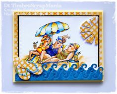 Art Impressions Rubber Stamps: Ai People: Loungers Set (Sku#4473) ... handmade card. beach, summer, pool, flip flops, sun, waves, girlfriends