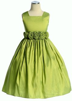 Fresh Apple Green Square Neckline Taffeta Dress for Toddlers & Little Girls - Click to enlarge 	  Fresh Apple Green Square Neckline Taffeta Dress for Toddlers & Little Girls